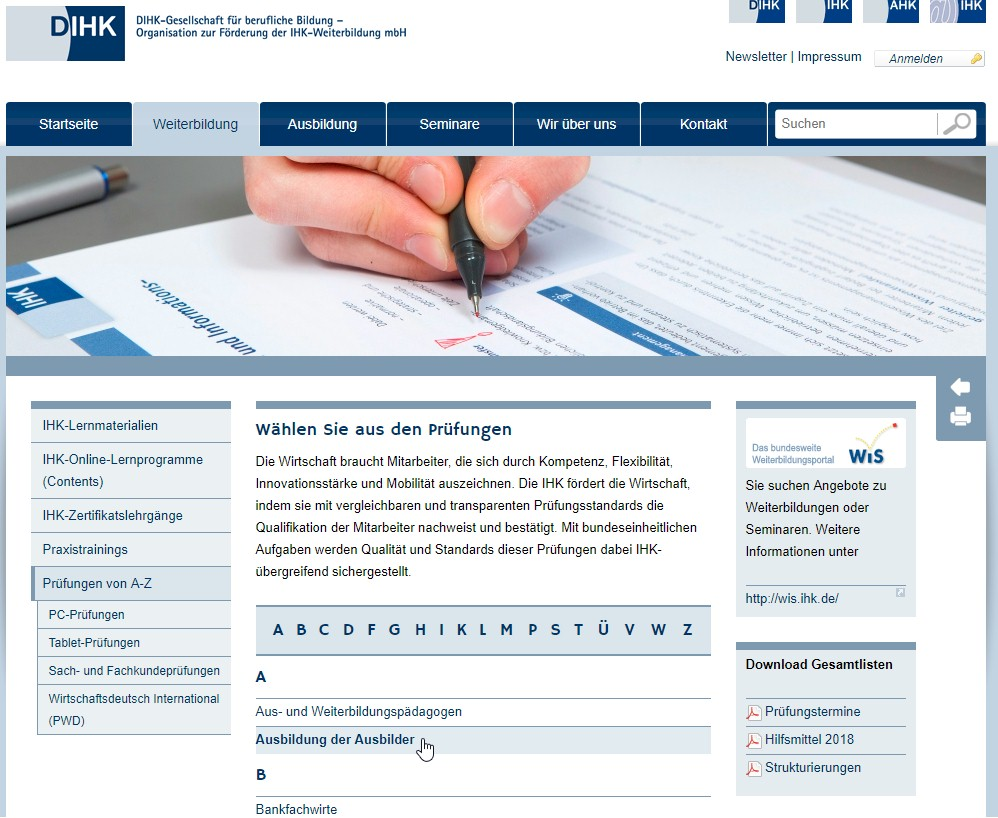 Screenshot von der DIHK-Webseite: Testprüfung 'Ausbildung der Ausbilder' / Ausbilderschein-Prüfung