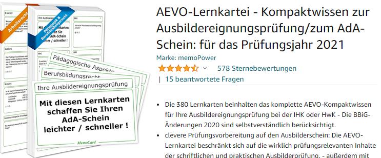 Screenshot von der Amazon-Webseite: AEVO-Lernkartei - zur Vorbereitung auf den Ausbilderschein